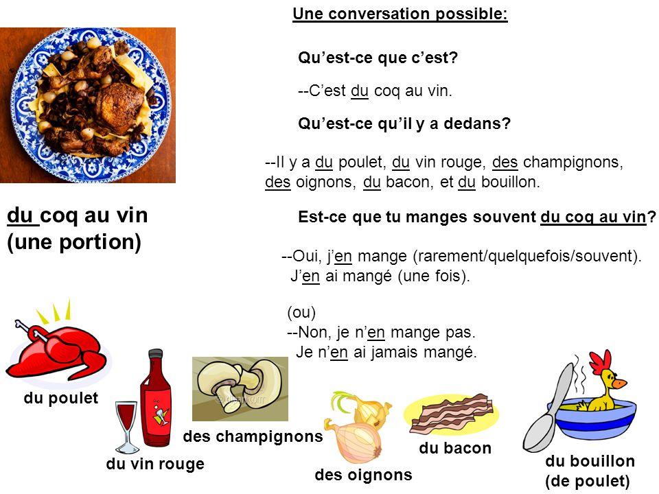 du coq au vin (une portion) du poulet des champignons du vin rouge du bacon des oignons du bouillon (de poulet) --Cest du coq au vin. Quest-ce que ces