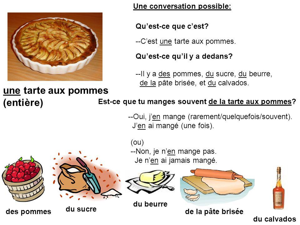 une tarte aux pommes (entière) des pommes du beurre du sucre de la pâte brisée du calvados --Cest une tarte aux pommes. Quest-ce que cest? Quest-ce qu