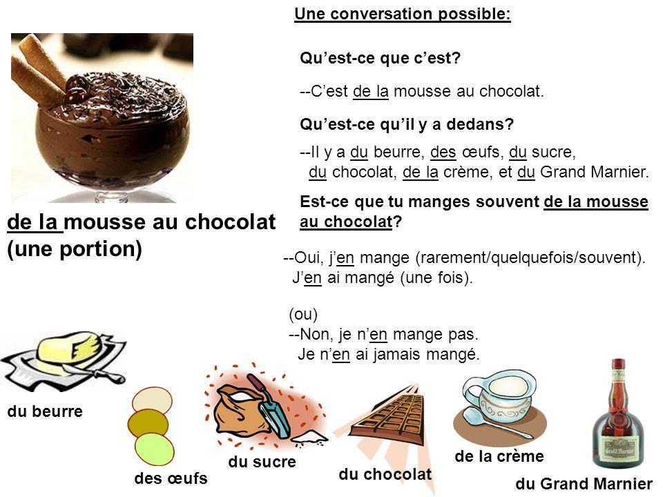 de la mousse au chocolat (une portion) du beurre du sucre des œufs du chocolat de la crème du Grand Marnier --Cest de la mousse au chocolat. Quest-ce