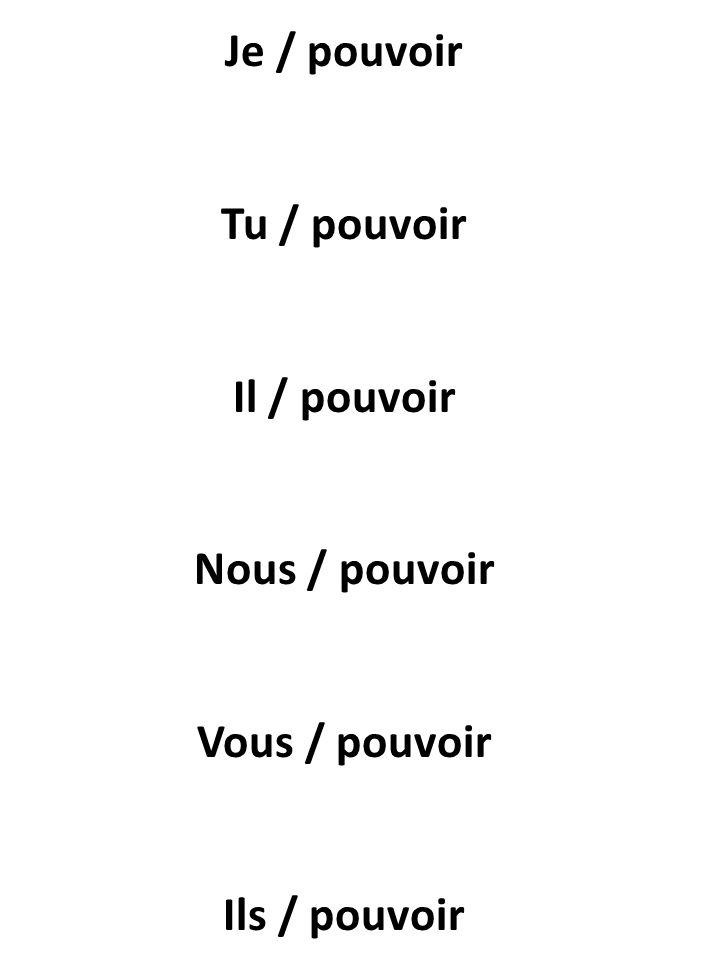 Je / pouvoir Tu / pouvoir Il / pouvoir Nous / pouvoir Vous / pouvoir Ils / pouvoir