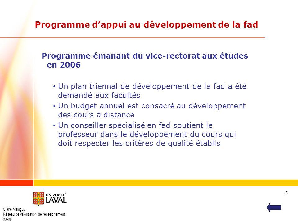 Claire Mainguy Réseau de valorisation de lenseignement 03-08 15 Programme dappui au développement de la fad Programme émanant du vice-rectorat aux étu