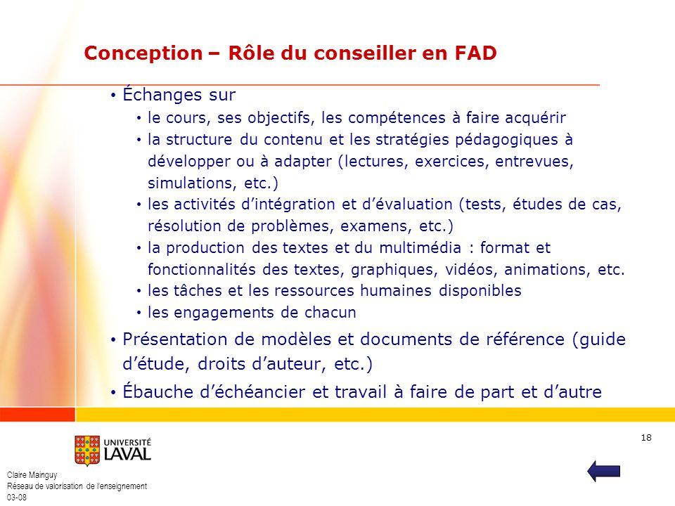 Claire Mainguy Réseau de valorisation de lenseignement 03-08 18 Échanges sur le cours, ses objectifs, les compétences à faire acquérir la structure du