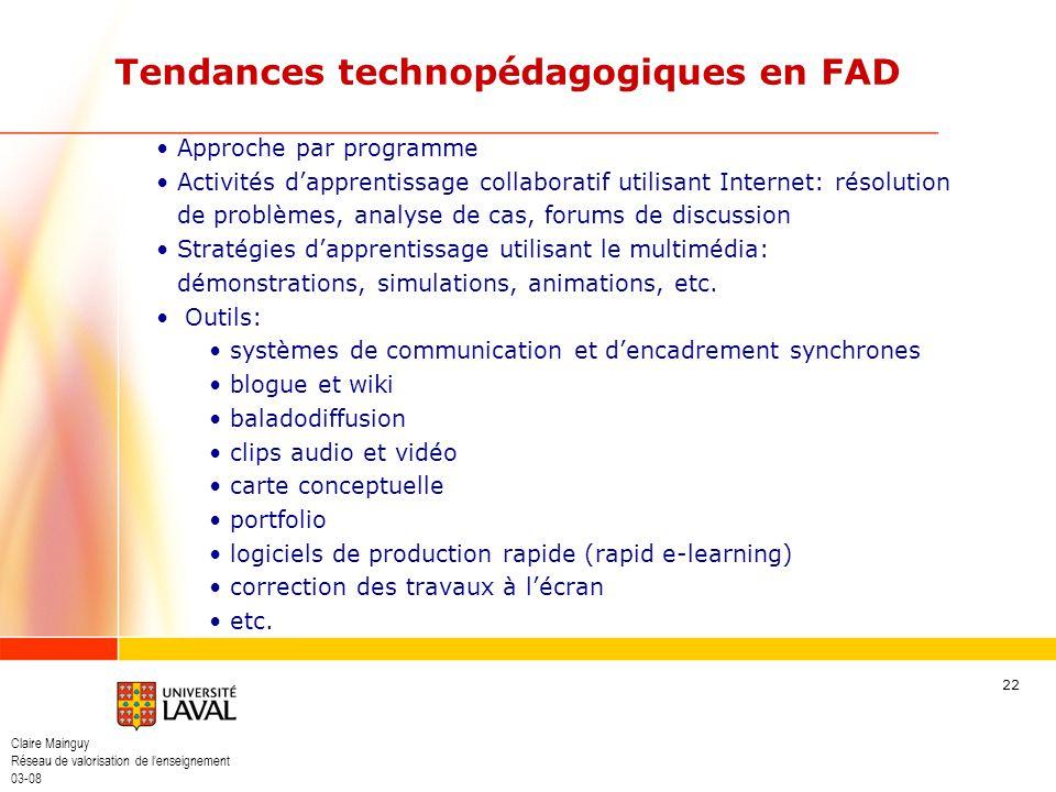 Claire Mainguy Réseau de valorisation de lenseignement 03-08 22 Approche par programme Activités dapprentissage collaboratif utilisant Internet: résol