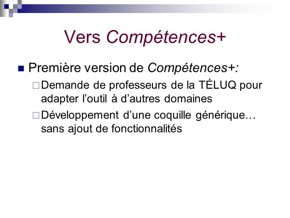 Vers Compétences+ Première version de Compétences+: Demande de professeurs de la TÉLUQ pour adapter loutil à dautres domaines Développement dune coqui