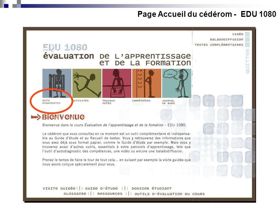 Page Accueil du cédérom - EDU 1080