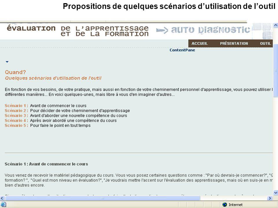Propositions de quelques scénarios dutilisation de loutil