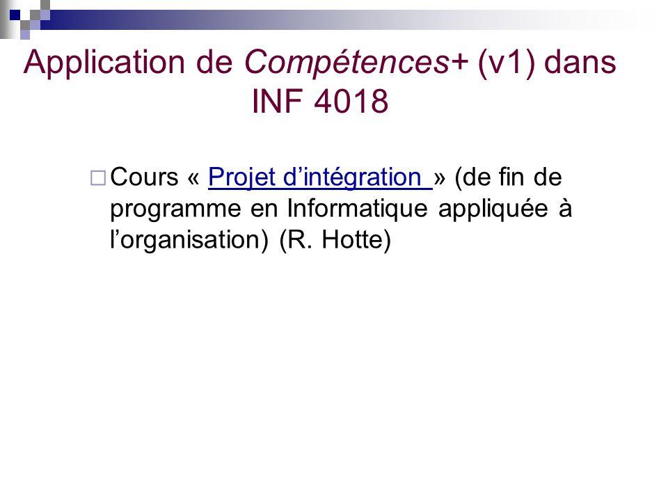 Application de Compétences+ (v1) dans INF 4018 Cours « Projet dintégration » (de fin de programme en Informatique appliquée à lorganisation) (R. Hotte