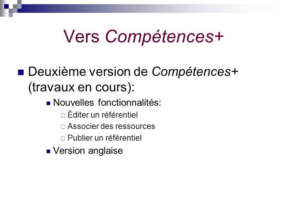 Vers Compétences+ Deuxième version de Compétences+ (travaux en cours): Nouvelles fonctionnalités: Éditer un référentiel Associer des ressources Publie