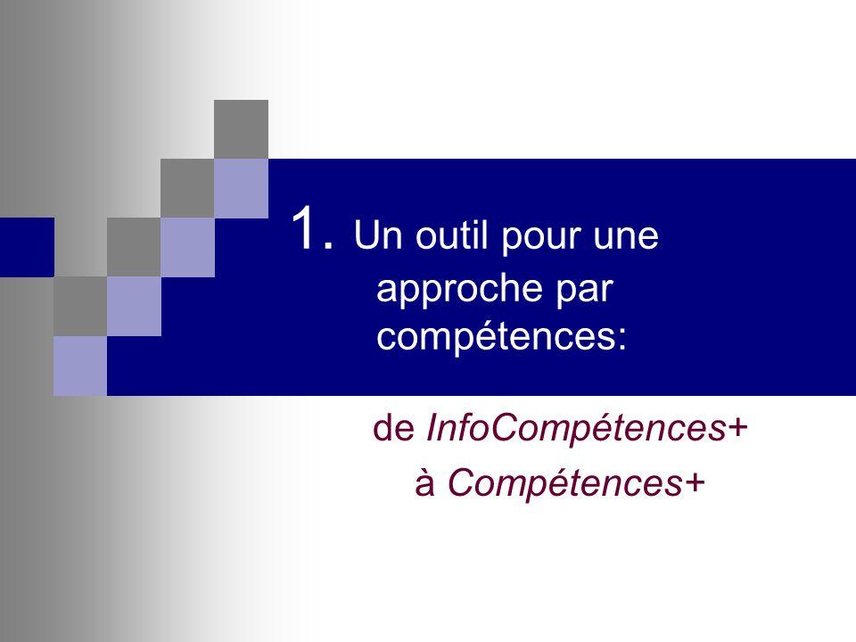 1. Un outil pour une approche par compétences: de InfoCompétences+ à Compétences+