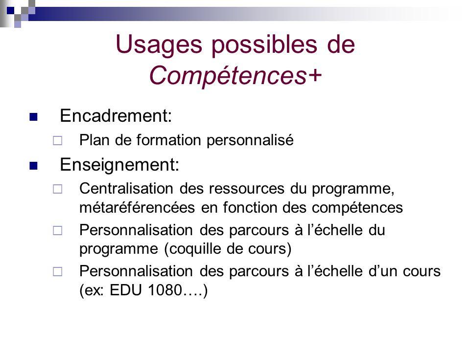 Usages possibles de Compétences+ Encadrement: Plan de formation personnalisé Enseignement: Centralisation des ressources du programme, métaréférencées