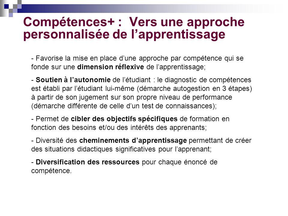 Compétences+ : Vers une approche personnalisée de lapprentissage - Favorise la mise en place dune approche par compétence qui se fonde sur une dimensi