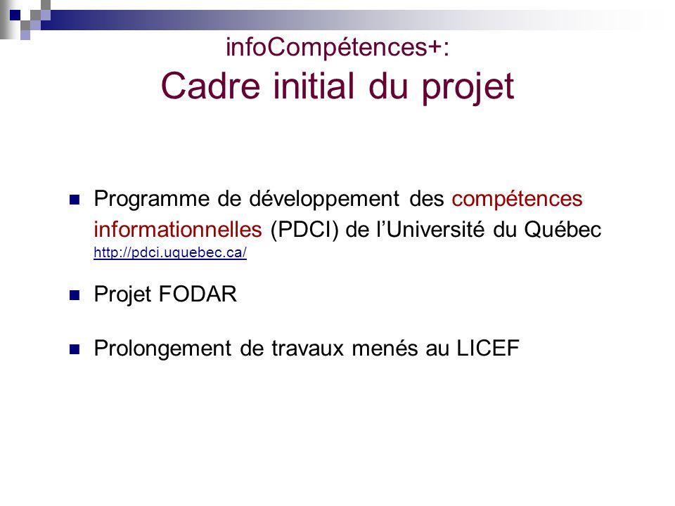 infoCompétences+: Cadre initial du projet Programme de développement des compétences informationnelles (PDCI) de lUniversité du Québec http://pdci.uqu
