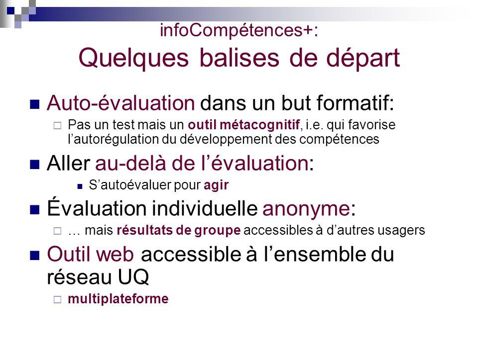 infoCompétences+: Quelques balises de départ Auto-évaluation dans un but formatif: Pas un test mais un outil métacognitif, i.e. qui favorise lautorégu