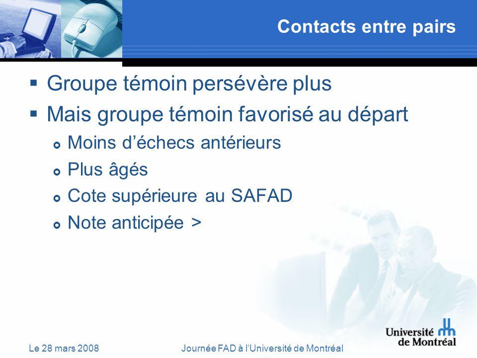 Le 28 mars 2008Journée FAD à lUniversité de Montréal Contacts entre pairs Groupe témoin persévère plus Mais groupe témoin favorisé au départ Moins déchecs antérieurs Plus âgés Cote supérieure au SAFAD Note anticipée >