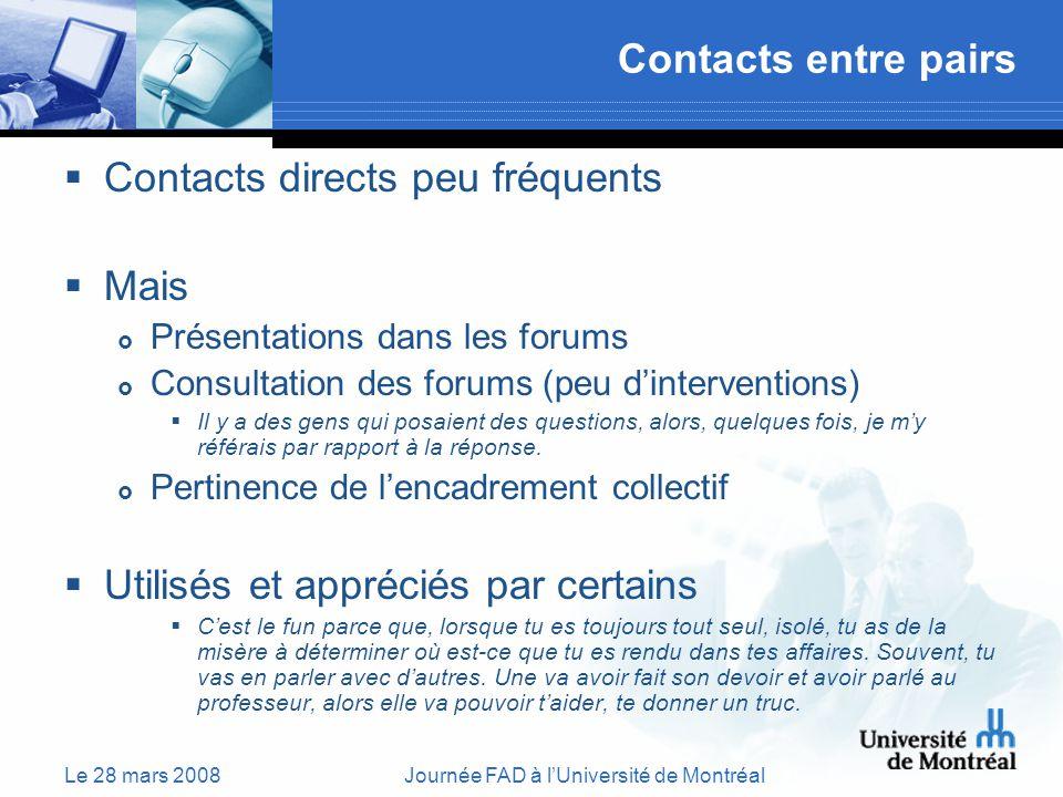 Le 28 mars 2008Journée FAD à lUniversité de Montréal Contacts entre pairs Contacts directs peu fréquents Mais Présentations dans les forums Consultation des forums (peu dinterventions) Il y a des gens qui posaient des questions, alors, quelques fois, je my référais par rapport à la réponse.