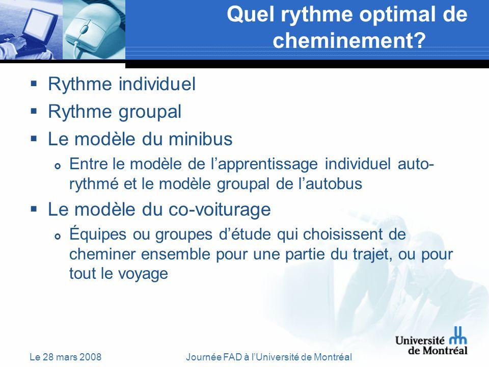 Le 28 mars 2008Journée FAD à lUniversité de Montréal Quel rythme optimal de cheminement.