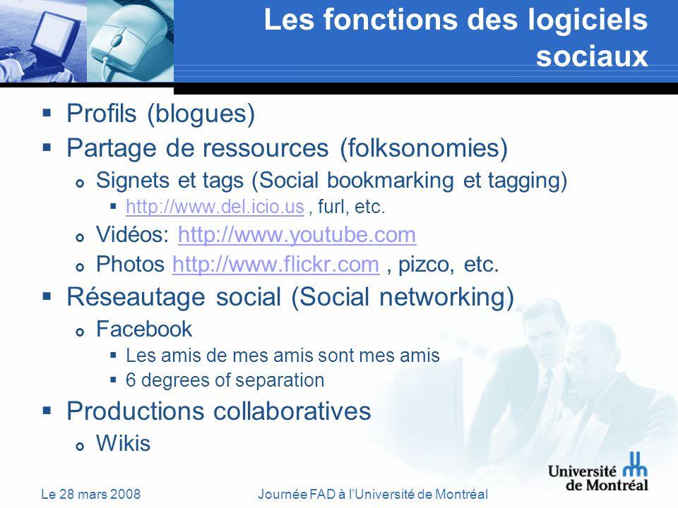 Le 28 mars 2008Journée FAD à lUniversité de Montréal Les fonctions des logiciels sociaux Profils (blogues) Partage de ressources (folksonomies) Signets et tags (Social bookmarking et tagging) http://www.del.icio.us, furl, etc.