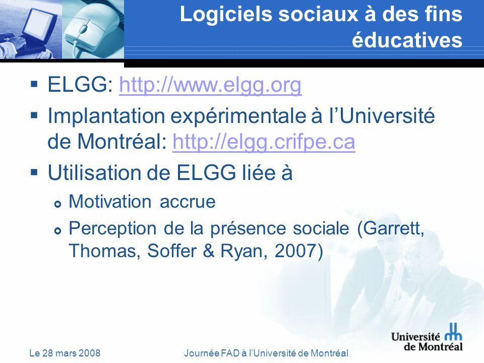 Le 28 mars 2008Journée FAD à lUniversité de Montréal Logiciels sociaux à des fins éducatives ELGG: http://www.elgg.orghttp://www.elgg.org Implantation expérimentale à lUniversité de Montréal: http://elgg.crifpe.cahttp://elgg.crifpe.ca Utilisation de ELGG liée à Motivation accrue Perception de la présence sociale (Garrett, Thomas, Soffer & Ryan, 2007)