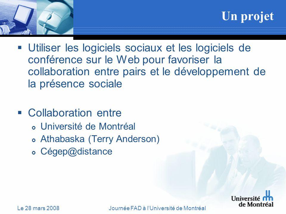Le 28 mars 2008Journée FAD à lUniversité de Montréal Un projet Utiliser les logiciels sociaux et les logiciels de conférence sur le Web pour favoriser la collaboration entre pairs et le développement de la présence sociale Collaboration entre Université de Montréal Athabaska (Terry Anderson) Cégep@distance