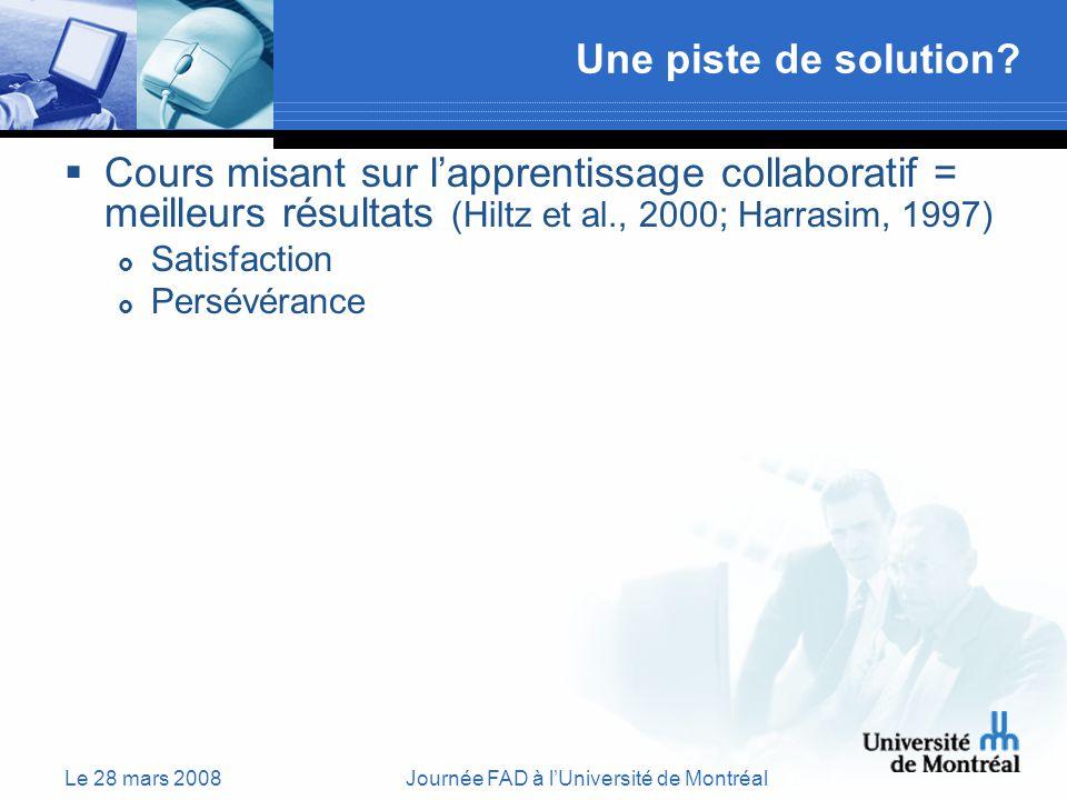 Le 28 mars 2008Journée FAD à lUniversité de Montréal Une piste de solution.