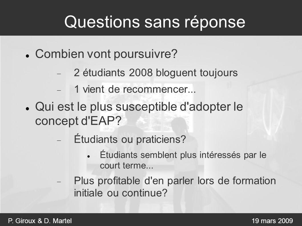 P. Giroux & D. Martel19 mars 2009 Questions sans réponse Combien vont poursuivre.