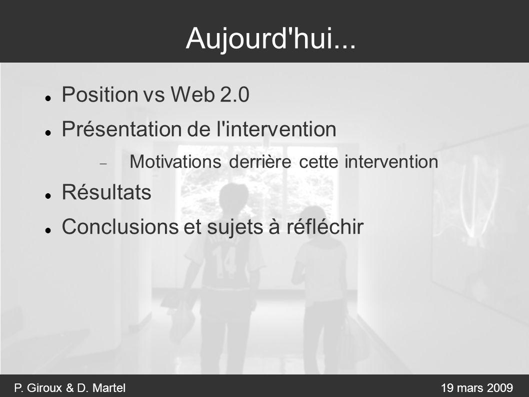 P. Giroux & D. Martel19 mars 2009 Aujourd hui...