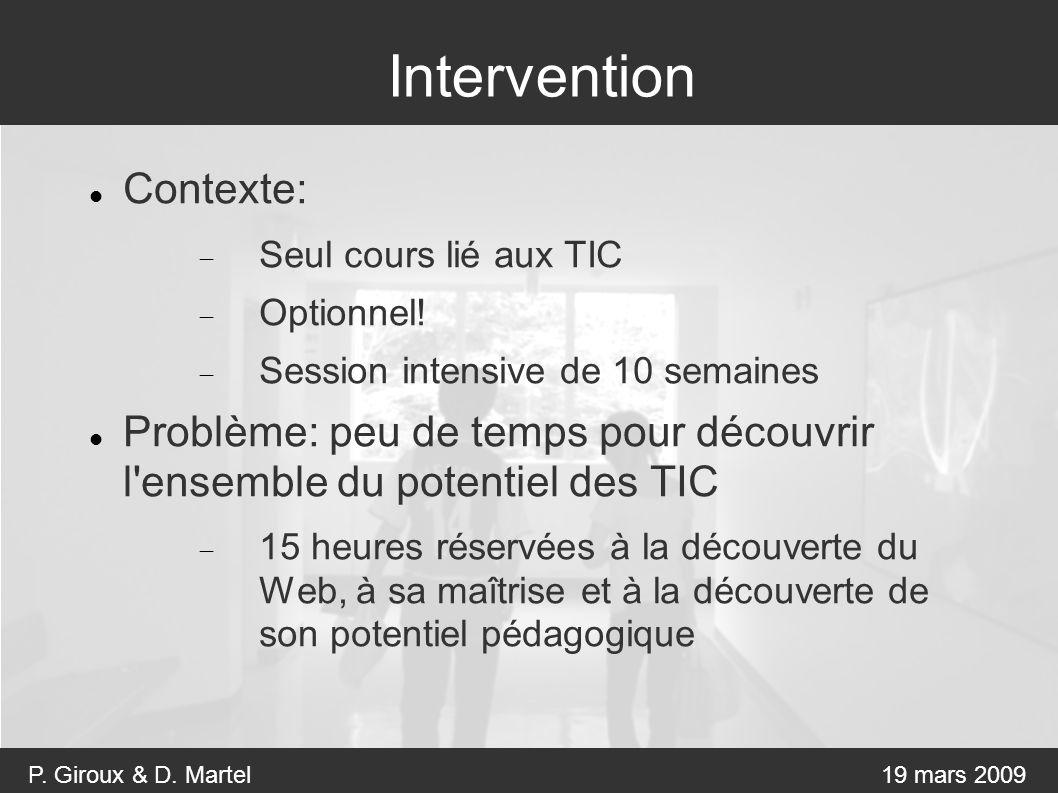 P. Giroux & D. Martel19 mars 2009 Intervention Contexte: Seul cours lié aux TIC Optionnel.