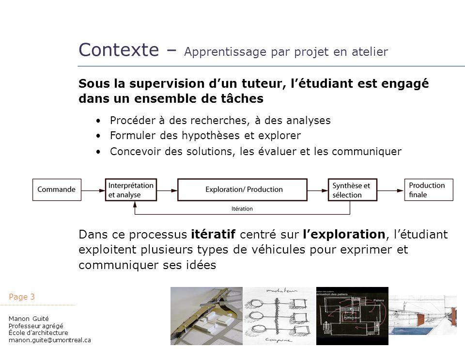 Page 3 Manon Guité Professeur agrégé École darchitecture manon.guite@umontreal.ca Contexte – Apprentissage par projet en atelier Sous la supervision d
