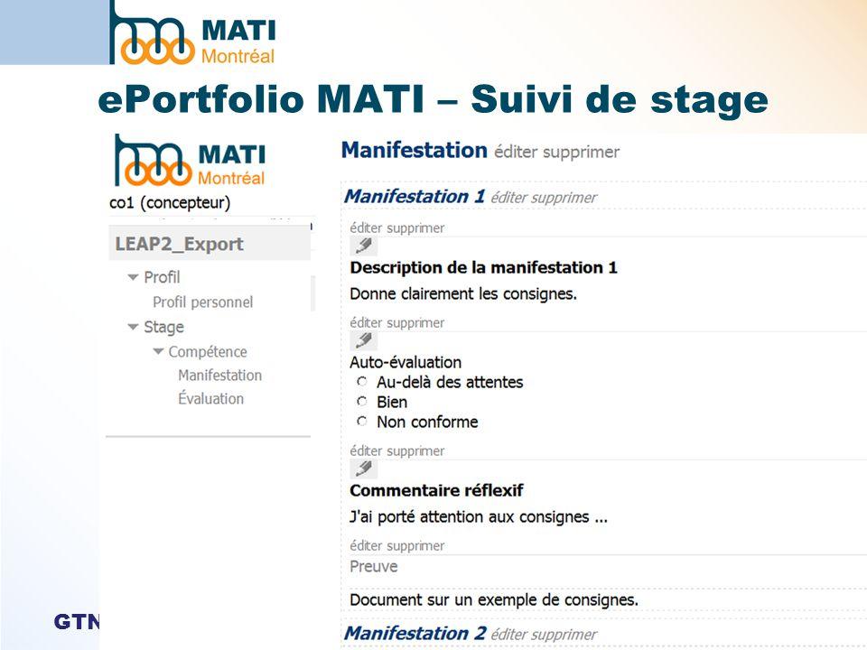GTN-Québec ePortfolio MATI – Suivi de stage