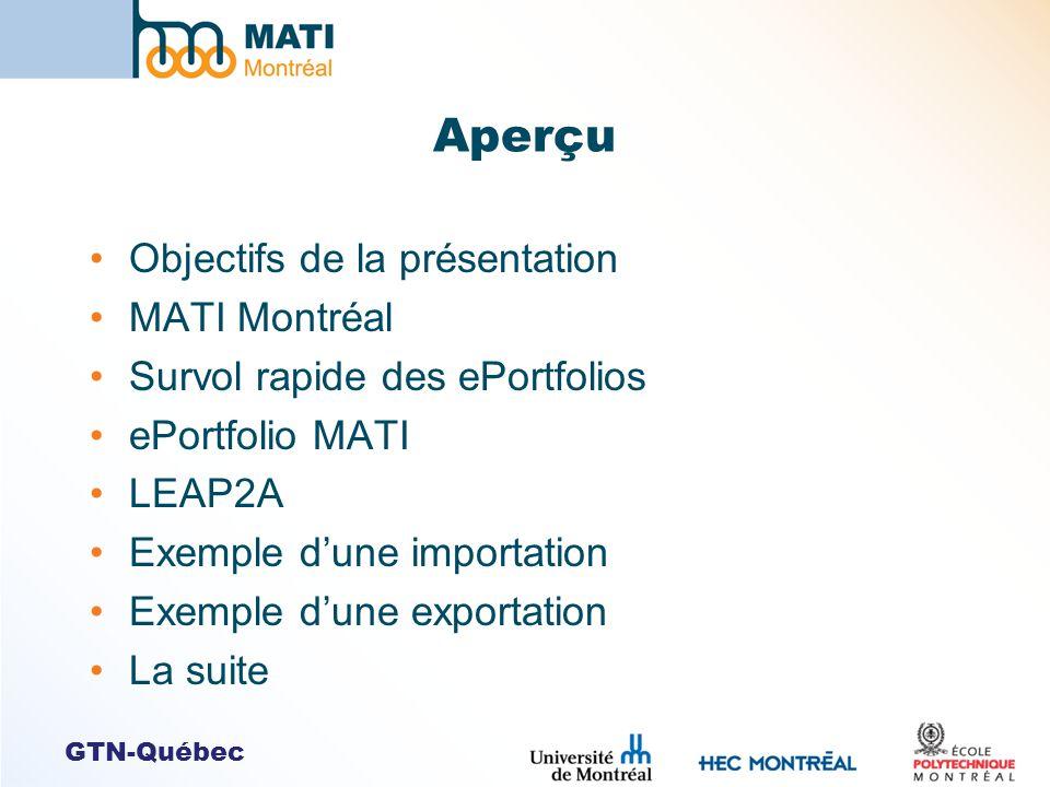 GTN-Québec Aperçu Objectifs de la présentation MATI Montréal Survol rapide des ePortfolios ePortfolio MATI LEAP2A Exemple dune importation Exemple dune exportation La suite