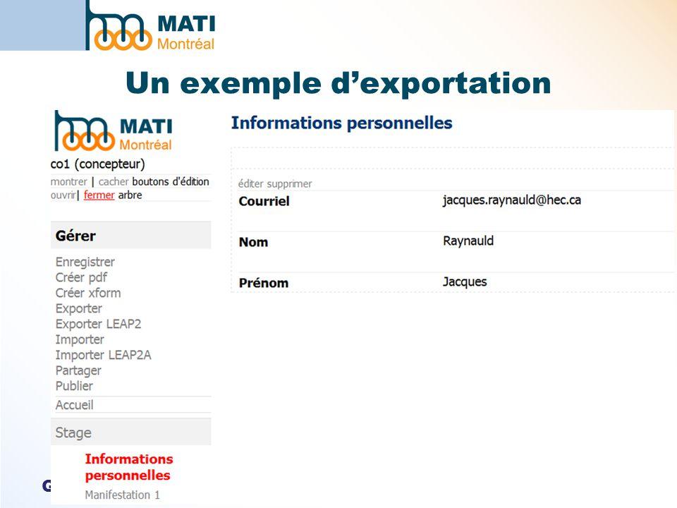 GTN-Québec Un exemple dexportation