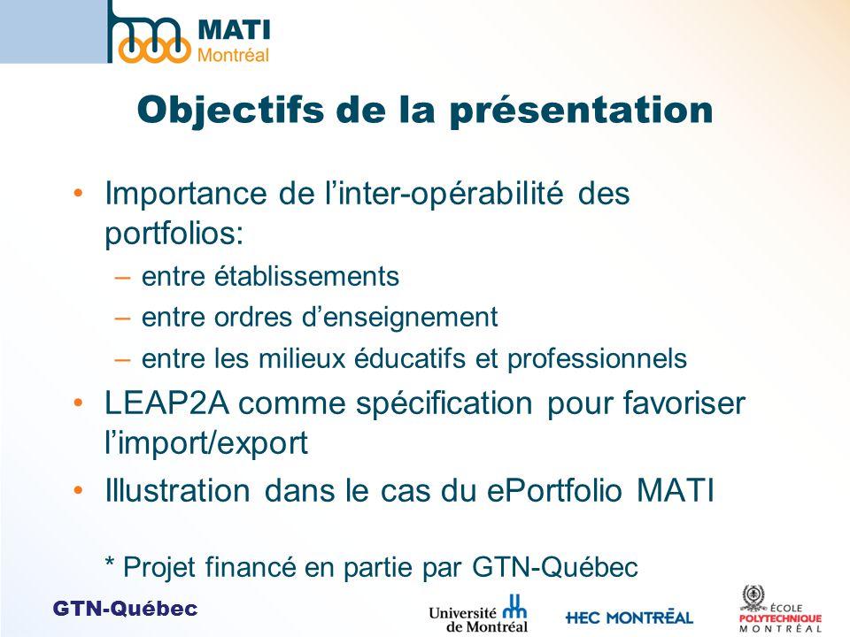 GTN-Québec Objectifs de la présentation Importance de linter-opérabilité des portfolios: –entre établissements –entre ordres denseignement –entre les