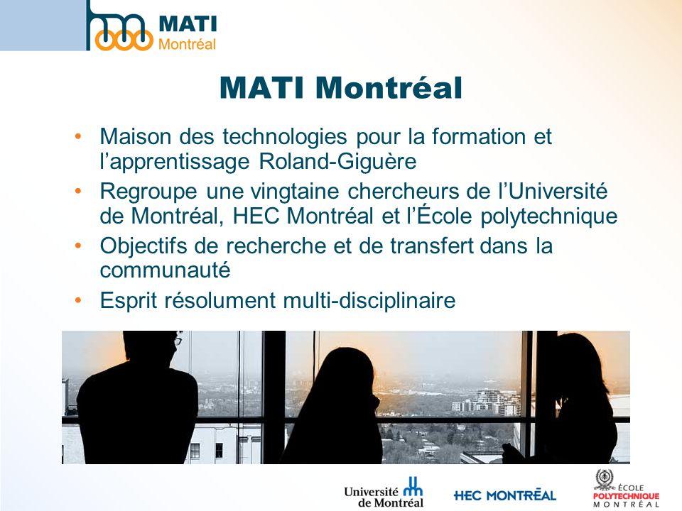 MATI Montréal Maison des technologies pour la formation et lapprentissage Roland-Giguère Regroupe une vingtaine chercheurs de lUniversité de Montréal, HEC Montréal et lÉcole polytechnique Objectifs de recherche et de transfert dans la communauté Esprit résolument multi-disciplinaire