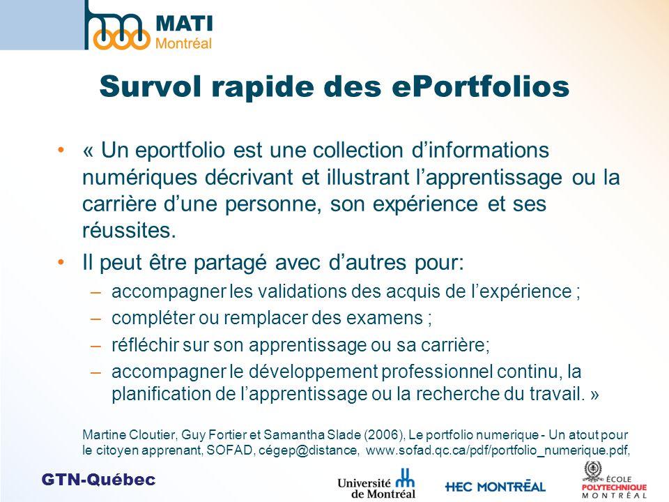 GTN-Québec Survol rapide des ePortfolios « Un eportfolio est une collection dinformations numériques décrivant et illustrant lapprentissage ou la carrière dune personne, son expérience et ses réussites.