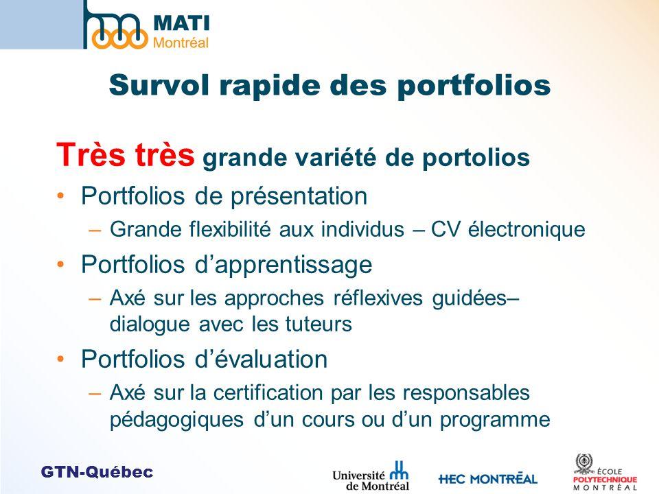 GTN-Québec Survol rapide des portfolios Très très grande variété de portolios Portfolios de présentation –Grande flexibilité aux individus – CV électr