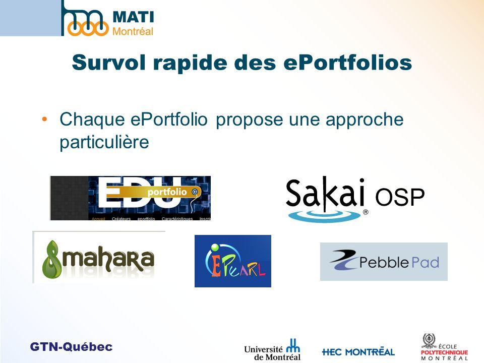 GTN-Québec Survol rapide des ePortfolios Chaque ePortfolio propose une approche particulière OSP