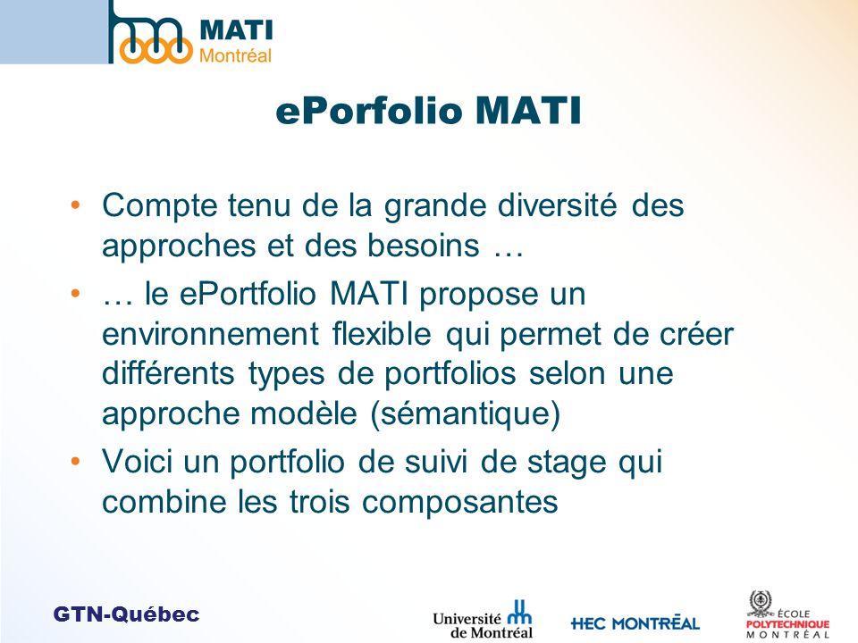 GTN-Québec ePorfolio MATI Compte tenu de la grande diversité des approches et des besoins … … le ePortfolio MATI propose un environnement flexible qui permet de créer différents types de portfolios selon une approche modèle (sémantique) Voici un portfolio de suivi de stage qui combine les trois composantes