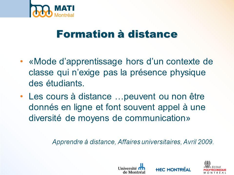 Formation à distance «Mode dapprentissage hors dun contexte de classe qui nexige pas la présence physique des étudiants.