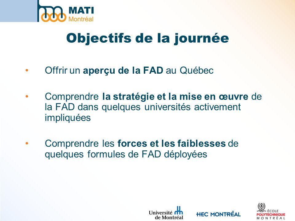 Objectifs de la journée Offrir un aperçu de la FAD au Québec Comprendre la stratégie et la mise en œuvre de la FAD dans quelques universités activement impliquées Comprendre les forces et les faiblesses de quelques formules de FAD déployées