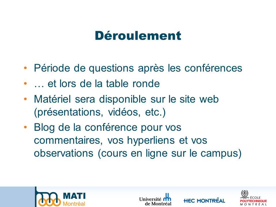 Déroulement Période de questions après les conférences … et lors de la table ronde Matériel sera disponible sur le site web (présentations, vidéos, etc.) Blog de la conférence pour vos commentaires, vos hyperliens et vos observations (cours en ligne sur le campus)