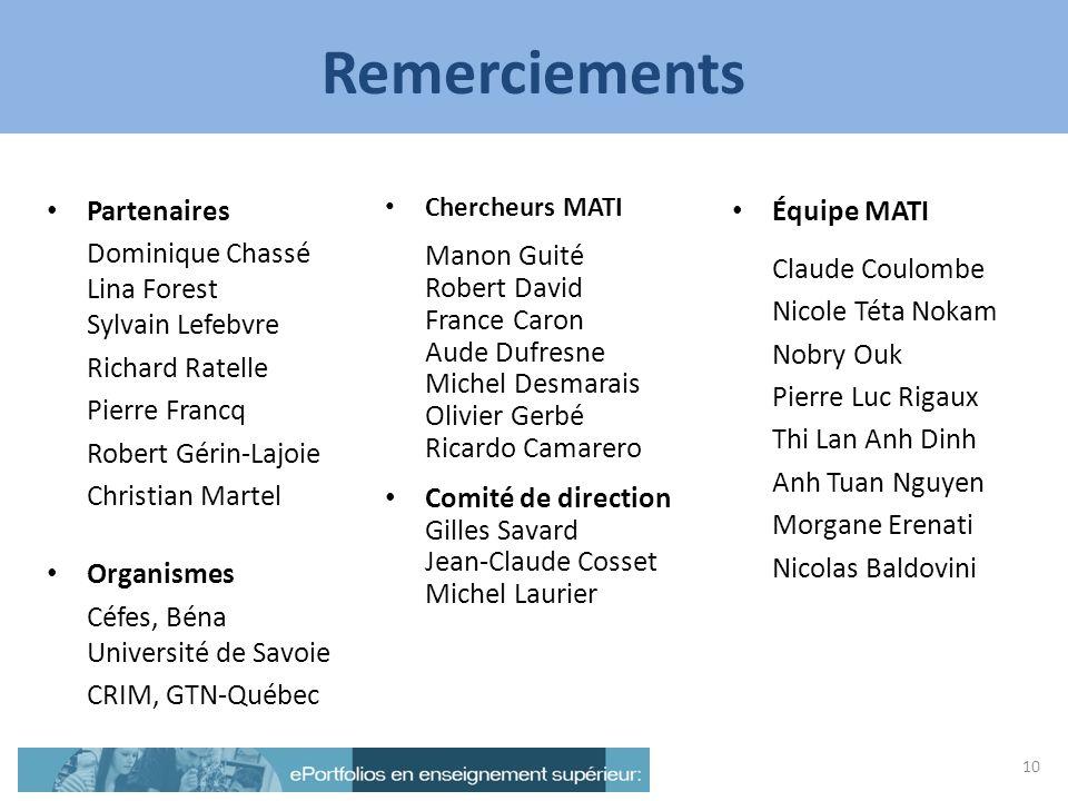 Remerciements Partenaires Dominique Chassé Lina Forest Sylvain Lefebvre Richard Ratelle Pierre Francq Robert Gérin-Lajoie Christian Martel Organismes
