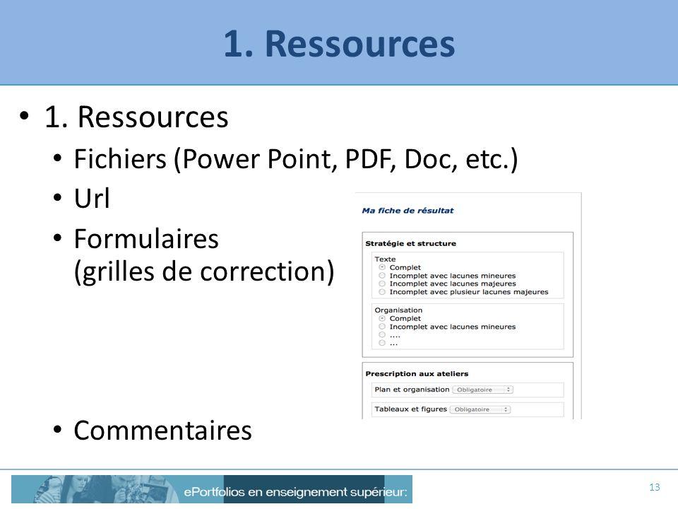 1. Ressources Fichiers (Power Point, PDF, Doc, etc.) Url Formulaires (grilles de correction) Commentaires 13