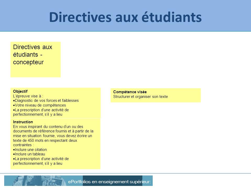 Directives aux étudiants Directives aux étudiants - concepteur Objectif Lépreuve vise à : Diagnostic de vos forces et faiblesses Votre niveau de compé