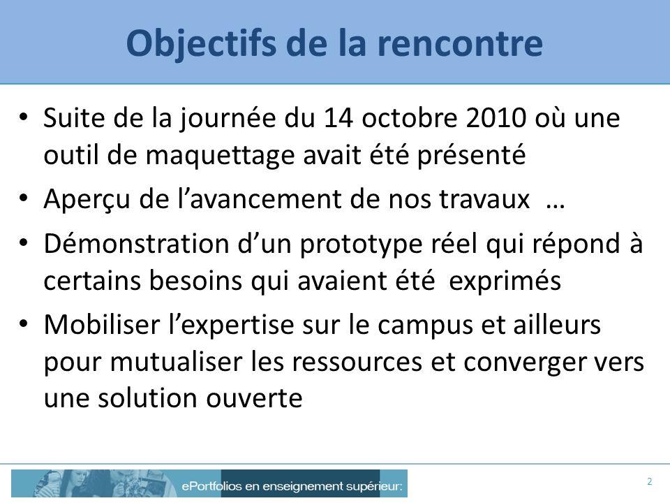 Objectifs de la rencontre Suite de la journée du 14 octobre 2010 où une outil de maquettage avait été présenté Aperçu de lavancement de nos travaux …