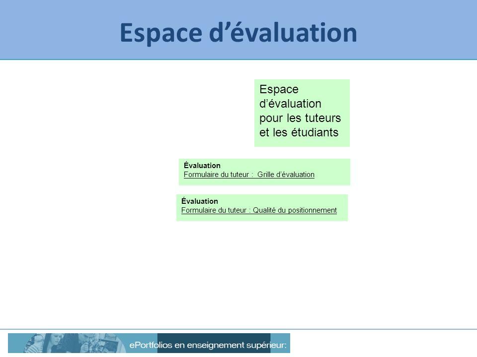 Espace dévaluation Espace dévaluation pour les tuteurs et les étudiants Évaluation Formulaire du tuteur : Grille dévaluation Évaluation Formulaire du