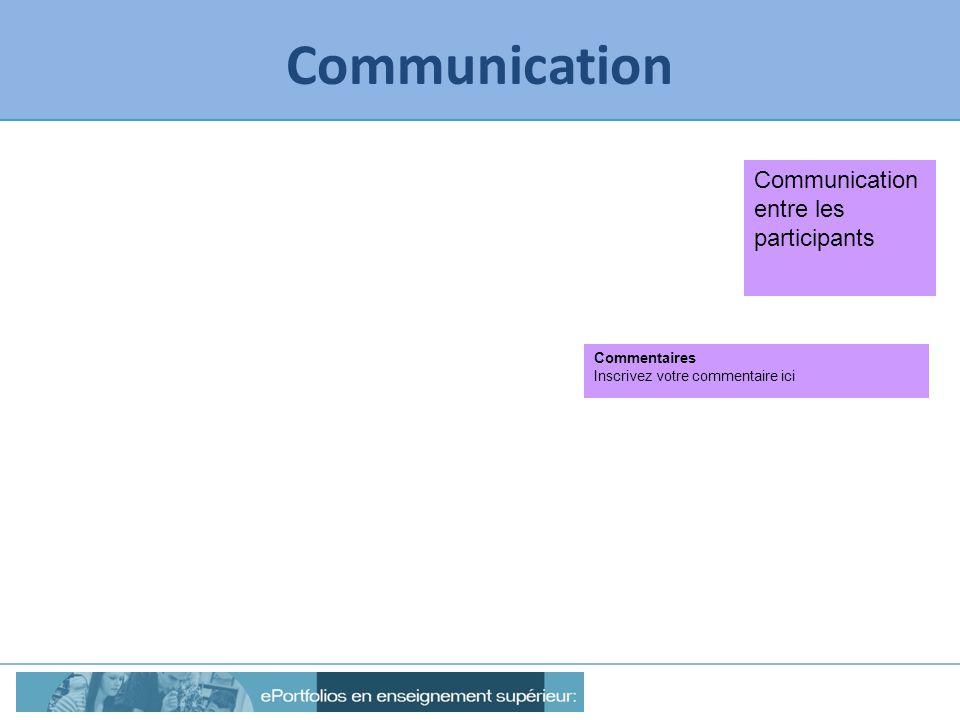 Communication Communication entre les participants Commentaires Inscrivez votre commentaire ici