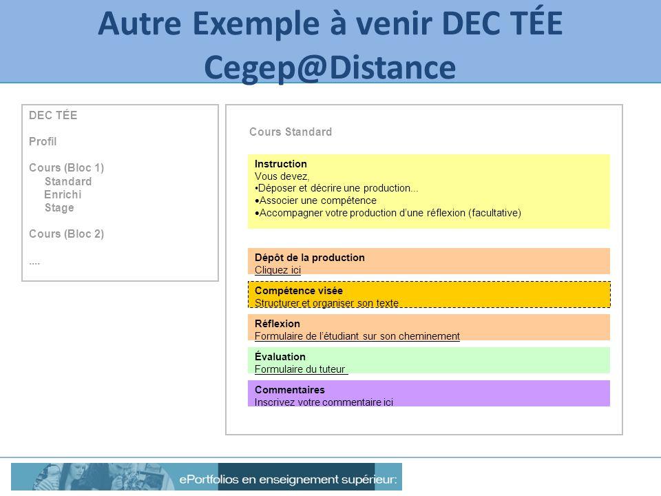 Autre Exemple à venir DEC TÉE Cegep@Distance Instruction Vous devez, Déposer et décrire une production... Associer une compétence Accompagner votre pr