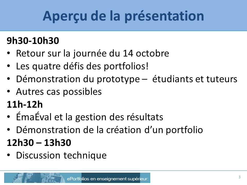 Aperçu de la présentation 9h30-10h30 Retour sur la journée du 14 octobre Les quatre défis des portfolios! Démonstration du prototype – étudiants et tu