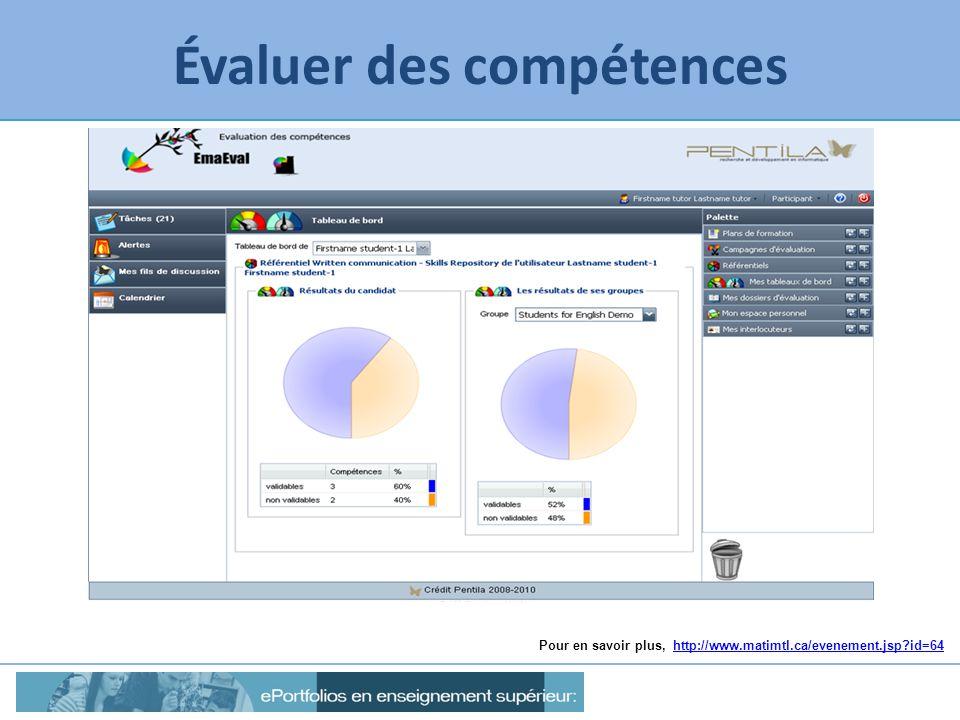 Évaluer des compétences Pour en savoir plus, http://www.matimtl.ca/evenement.jsp?id=64http://www.matimtl.ca/evenement.jsp?id=64