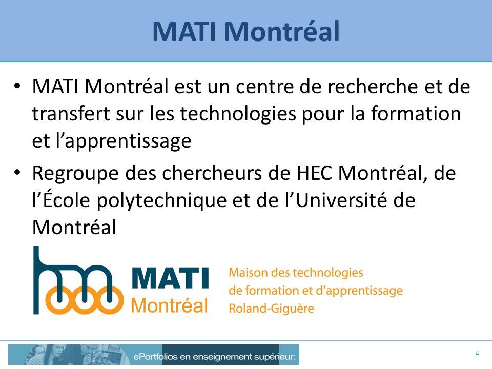 MATI Montréal MATI Montréal est un centre de recherche et de transfert sur les technologies pour la formation et lapprentissage Regroupe des chercheur